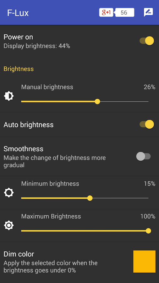 Screen Brightness Control- screenshot