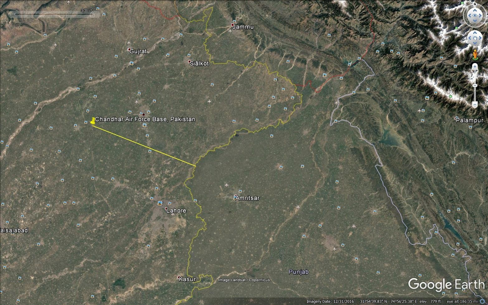 Chandhar airbase, Distance from border 77 km