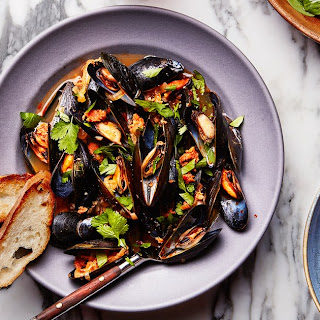 Beer-Steamed Mussels with Chorizo.