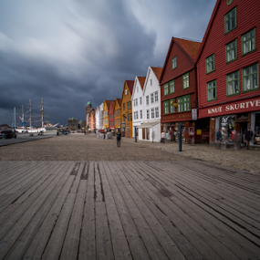 Bryggen, Bergen, Norway. by Paulius Bruzdeilynas - City,  Street & Park  Historic Districts ( bergen, wild, old town, bryggen, cityscape, landscape, brygge, storm, spring, city, norway, norwegian, cloudy, weather, long exposure, norge, downtown )