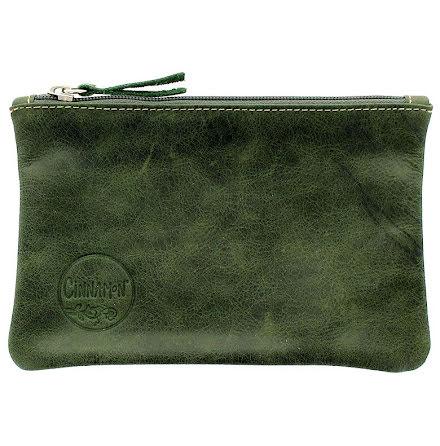 Mini väska mossgrön i skinn med kreditkortsficka