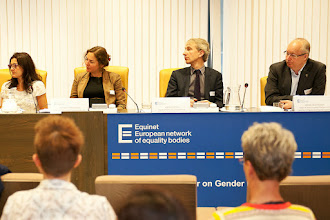 Photo: From the left to the right, Sandra Ribeiro, Moderator of Equinet Gender Working Group, President of the Portuguese Commission for Equality in Labour and Employment, Néphèli Yatropoulos, Adviser to the French Defender of Rights on European and International issues, Equinet Executive Board Member, Andreas Stein, Head of Unit, European Commission DG Justice Equal Treatment Legislation D.1, Mikael Gustafsson, Chair of the Committee on Women's Rights and Gender Equality of the European Parliament