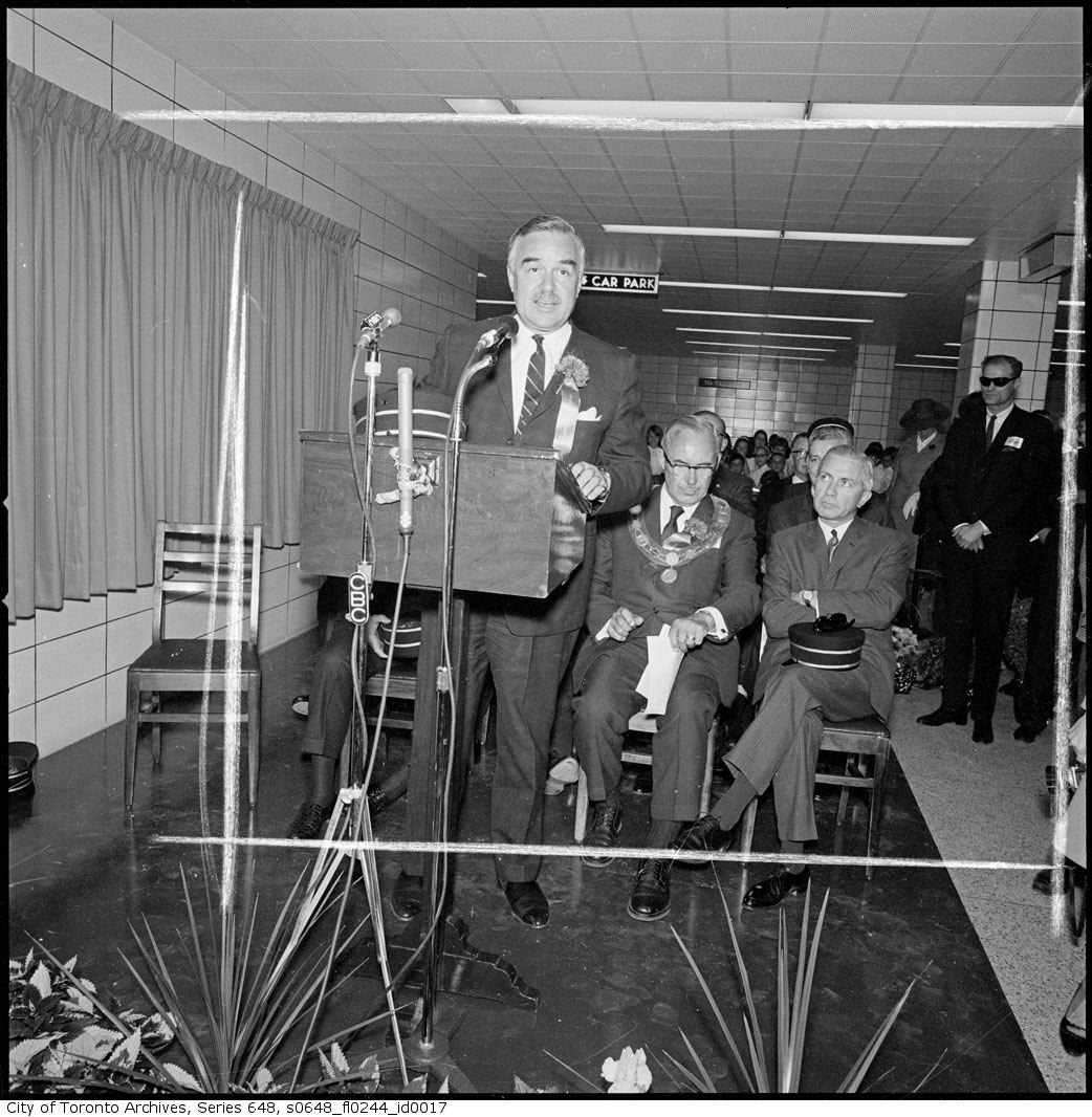 Photo: Ontario Premier John Parmenter Robarts addressed the crowd at the opening ceremonies on May 10, 1968. Handsome fellow, you must admit.  The photograph display on the wall (under the curtains) is no longer there, unfortunately. See the contemporary view:  https://plus.google.com/photos/115379527103152169094/albums/6058779987595704625/6089102862049307506?pid=6089102862049307506&oid=115379527103152169094