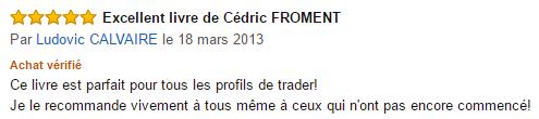 Témoignage amazon du livre cédric Froment