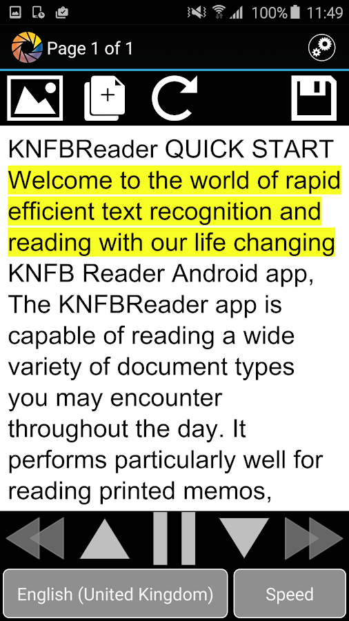 KNFB Reader- screenshot
