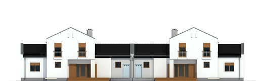 Kasjopea z garażem 1-st. bliźniak A-BL1 - Elewacja tylna