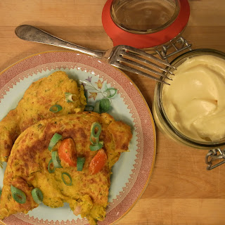 Chickpea Omelettes With Curry Mayo