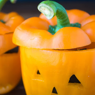 Bell Pepper Jack-O-Lantern Veggies And Ranch Dip.