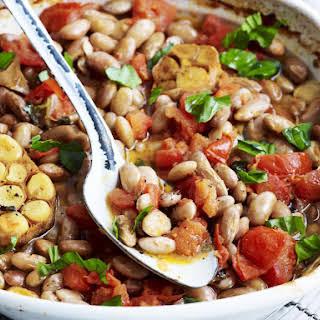 Braised Borlotti Beans with Tomato and Garlic.