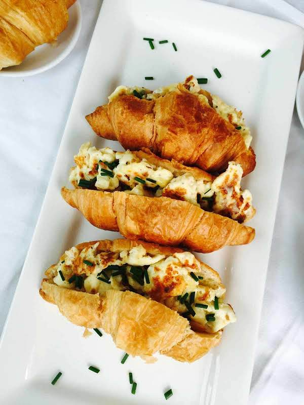 Morning Croissant And Scrambled Eggs Treat Recipe
