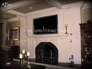 Photo: After Fireplace Mantle surround: Passin and coffered ceiling.