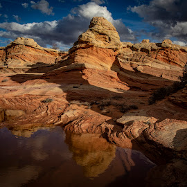 S Coyote by Dean Mayo - Landscapes Caves & Formations ( buttes, reflection, rocks, south, vermillion cliffs, arizona, mars, coyote, clouds )