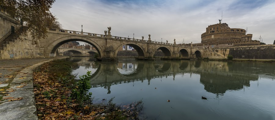 Ponte Sant'Angelo by Zisimos Zizos - Buildings & Architecture Bridges & Suspended Structures ( rome, reflections, bridge, italy )