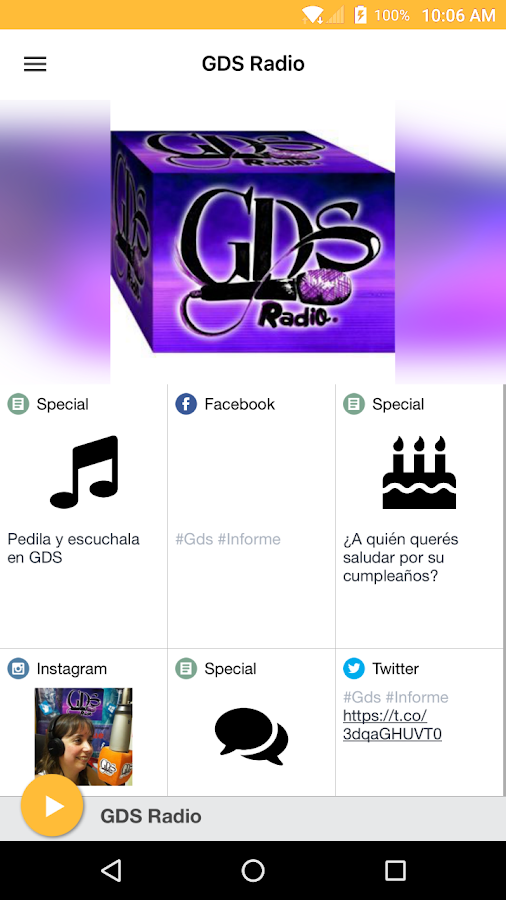 GDS Radio: captura de pantalla