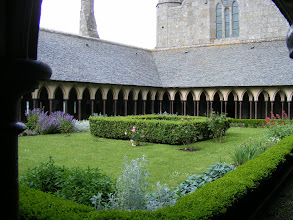 Photo: The famous Cloister, central in the series of buildings called the Merveille (Marvel), and so the communications link to the various buildings central to monastic life.