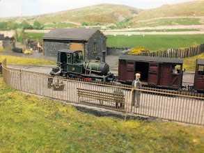 Photo: 124 Talyllyn loco number 2, Dolgoch, has run round its train and prepares to depart from Garreg Wen. The loco is one of the best finished 009 models of this famous engine that I can remember seeing .