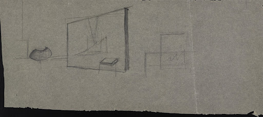 Untitled (Design sketch for an interior room with bureau)