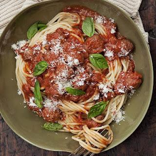 Spaghetti and Meatballs in Tomato Cream Sauce.