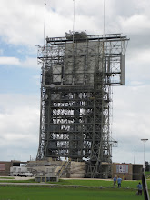 Photo: The Delta II is on the other side of the service structure.