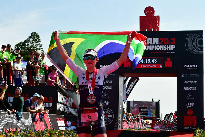 1 September 2018 - South African pro athlete Jeanni Seymour after completing the race