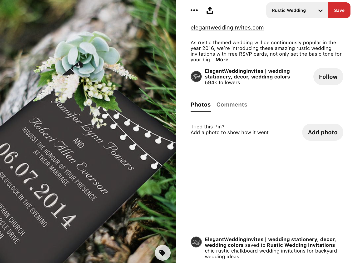 wedding invitation with a twinkly lights border