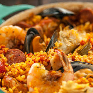 Spanish Paella with Chorizo, Chicken and Shrimp.