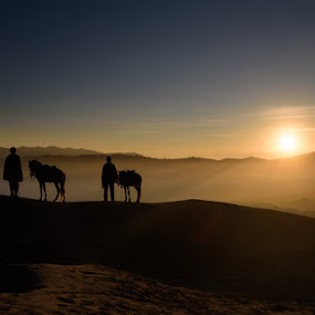 The sun is rising by En Ric - Landscapes Mountains & Hills ( picoftheday, mountain, volcano, java island, horses, beautiful landscape, silhouette, indonesia, mount bromo, java, sunrise, bromo )