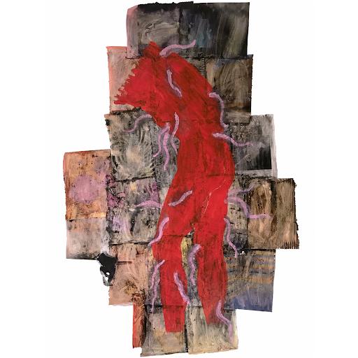 vouloir_etre_immortelle_renaissance_sophie_lormeau_corps_rouge_asticots_roses_della_francesca_peinture_acrylique_papier_magazine_puzzle_cartographie_chaos_irregulier_trepas_art_contemporain_artiste_femme_peintre_collection_©_adagp_paris_2021