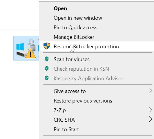 Resume BitLocker protection for hard drive