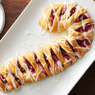 Raspberry-Cream Cheese Candy Cane Crescent Danish.