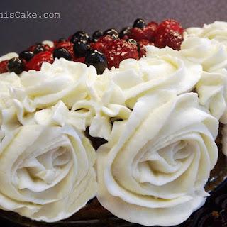 Rose Swirls of Old-Fashioned Heirloom Vanilla Custard Frosting Using Granulated Sugar.