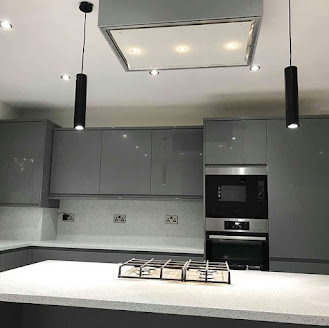 a modern grey and white kitchen