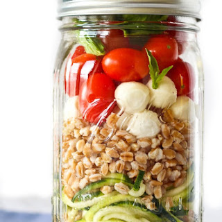 Zucchini Noodle Mason Jar Salad with Farro and Mozzarella