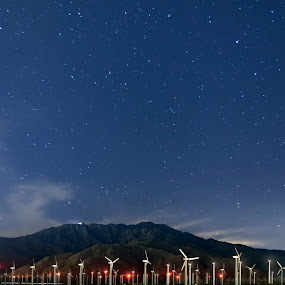 Wind Mill Stars  by John CHIMON - Landscapes Starscapes ( pwcstars, stars, palm springs, california, wind mills, wind turbines, electricity, long exposure, night, turbines, night sky, energy )