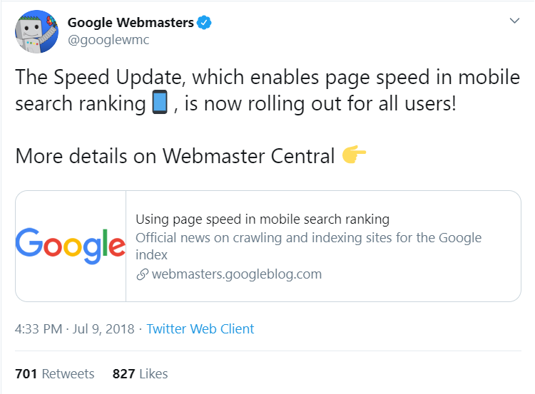 google speed update tweet