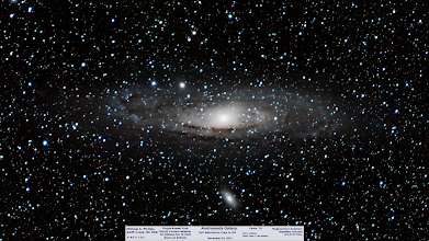 Photo: M31, theAndromeda Galaxy is a hard subject as it's core is bright and edges faint. On top of the difficulties in balancing the bright and dim portions it's angular size is HUGE. I used a 200mm lens at f/4 on my Canon 7D (DSLR) and Magic Lantern to acquire almost 4 hours of 2min subs the other night. Here's a result I'm quite happy with. In this album you can see the previous work with a different 200mm lens and older Canon XTi on the same mount. Upcoming are M45, the Orion belt/nebula area and a few Jupiter shots! Now off to more processing!
