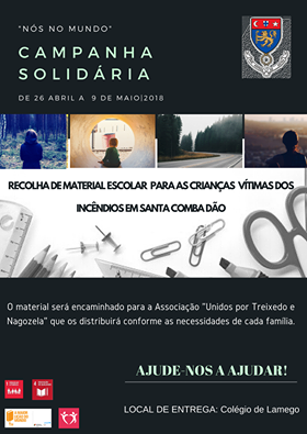 """""""Nós no Mundo"""" - Campanha Solidária - 26 de abril a 9 de maio de 2018"""