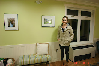 Photo: Sept.13-2014 At the Reception to Celebrate the expansion of the Ronald McDonald House. Raquel Alvarado beside  the work that She contributed for the house.
