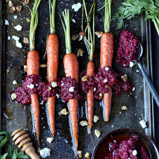 Whole Baked Carrots + Roasted Beet Pesto with Walnuts and Goat Cheese Recipe
