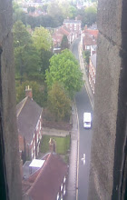 Photo: Halfway up the Louth church tower and a view out of an archers slit, to the West.