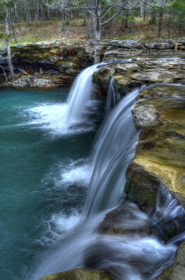 Falling Water Falls by Mike Price - Landscapes Waterscapes ( water, blue, green, falling water falls, waterfall, creek, arkansas )