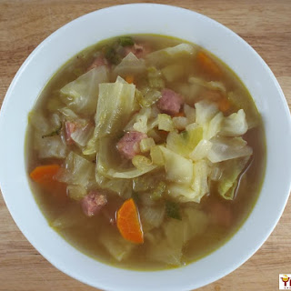 Spicy Cabbage and Garlic Soup with Ham Recipe