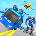 Flying Bus Robot Transform War- Police Robot Games icon