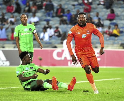 Brace: Polokwane City striker Rendani Ndou, right, celebrates one of his two goals against Orlando Pirates at Orlando Stadium on Saturday night. Picture: SAMUEL SHIVAMBU/ BACKPAGEPIX