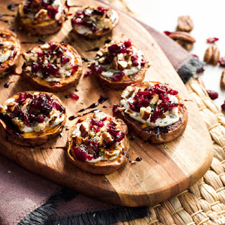 Sweet Potato Rounds with Goat Cheese, Pecans & Cranberries