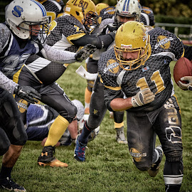 Bulldozer by Marco Bertamé - Sports & Fitness American and Canadian football ( ball, white, defender, number, attack, yellow, running, black, 11,  )