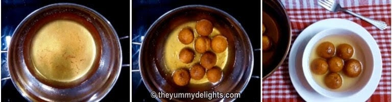 soaking the gulab jamuns in sugar syrup