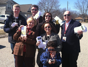 Photo: Holy Trinity: On March 29 and 30, 17 volunteers from Holy Trinity-Wyoming took up the challenge from our Bishop and Rector to take our message of Good News outside our walls. These volunteers went door to door canvassing the neighborhoods west of Holy Trinity. Over 240 homes were presented with invitations to join us, especially for Holy Week Services and our Community Easter Breakfast. Our newly-developed tri-fold brochure was also given to each of our neighbors as a visual reminder of who we are and where to find us.  Sharing our love for Jesus, and caring about those around us, our message reached many. A special thank you goes out to these teams (some of whom posed for the attached photo) who braved the cool March weather and gave so freely of their weekend time to this effort.