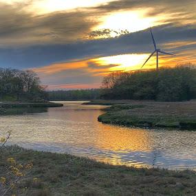 Weir river  by Ann Goldman - Landscapes Sunsets & Sunrises ( sunset, windmill, calming, river, clouds, sundown )
