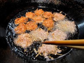 Photo: taro fritters frying